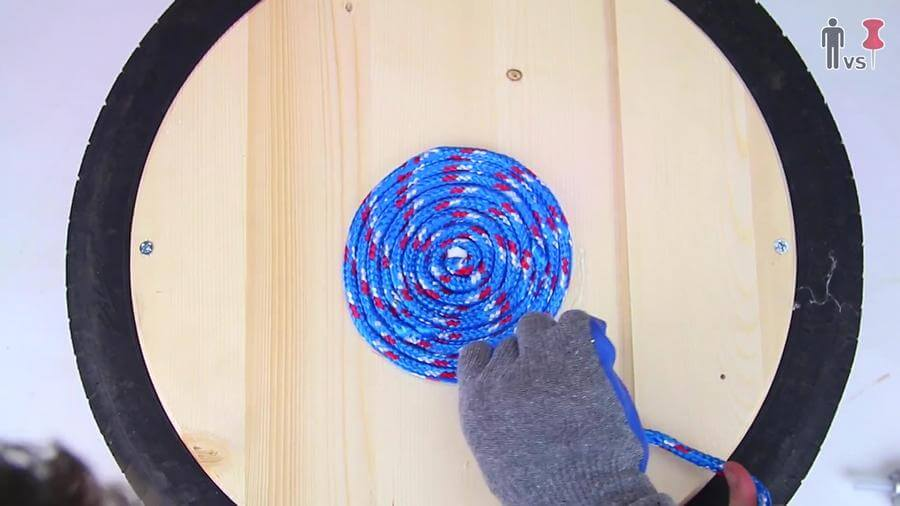 now coil the wood around the center in spiral manner