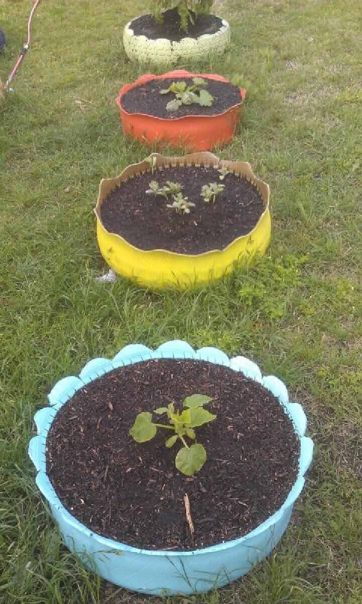DIY Tire Tread Planters or Raised Garden Beds