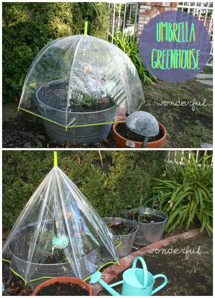 DIY Umbrella Mini Greenhouse