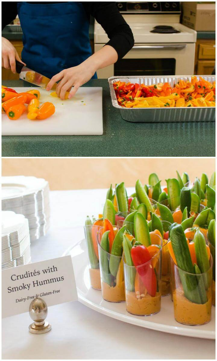 DIY Veggie and Hummus Cups for Graduation Party