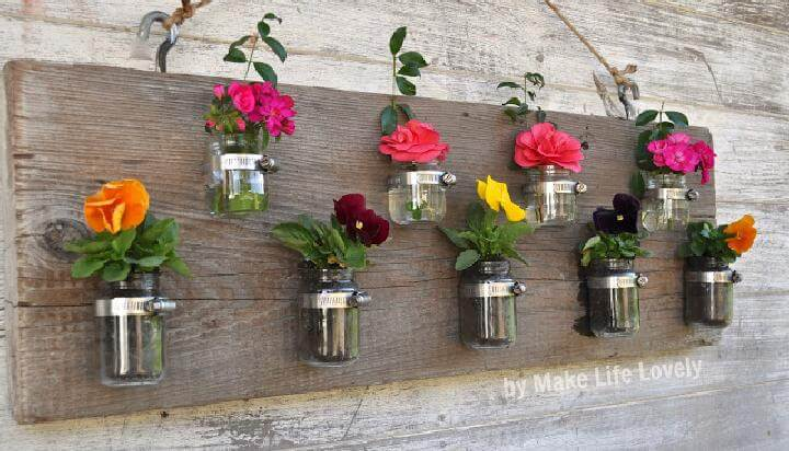 DIY Wood and Mason jar Wall Vases or Candle Holders
