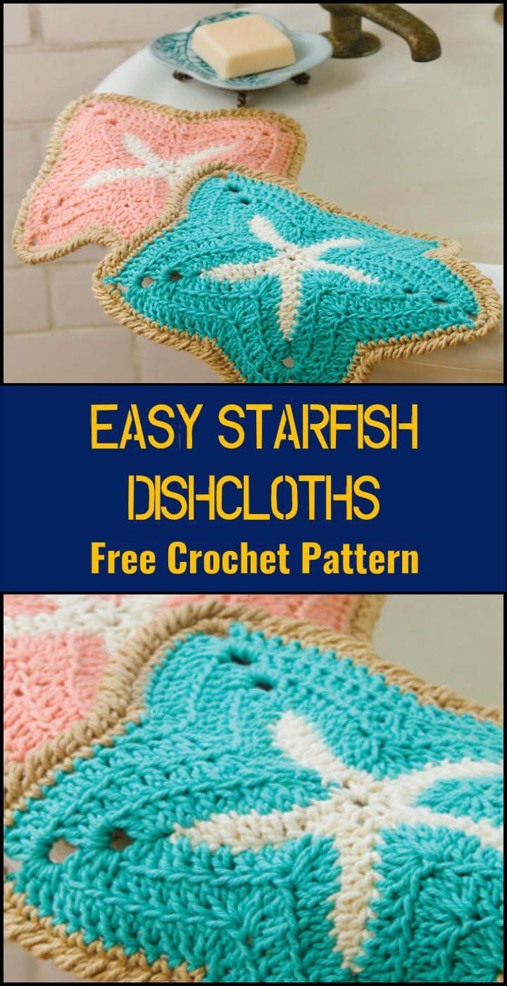Free Crochet Starfish Dishcloth Pattern : 110+ Free Crochet Patterns for Summer and Spring - Page 4 ...