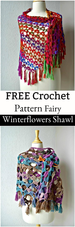 FREE crochet pattern Fairy Winterflowers Shawl