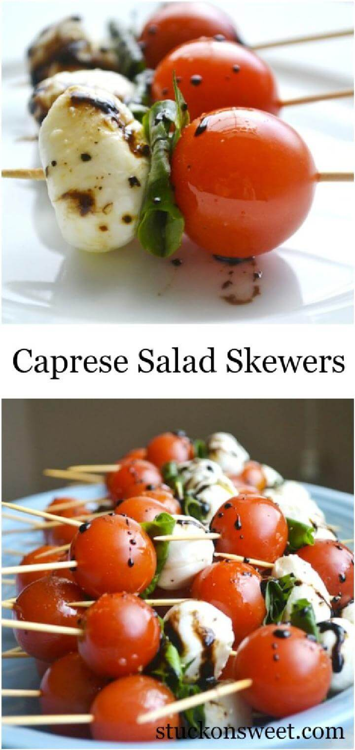 Graduation Party Caprese Salad Skewers Collage