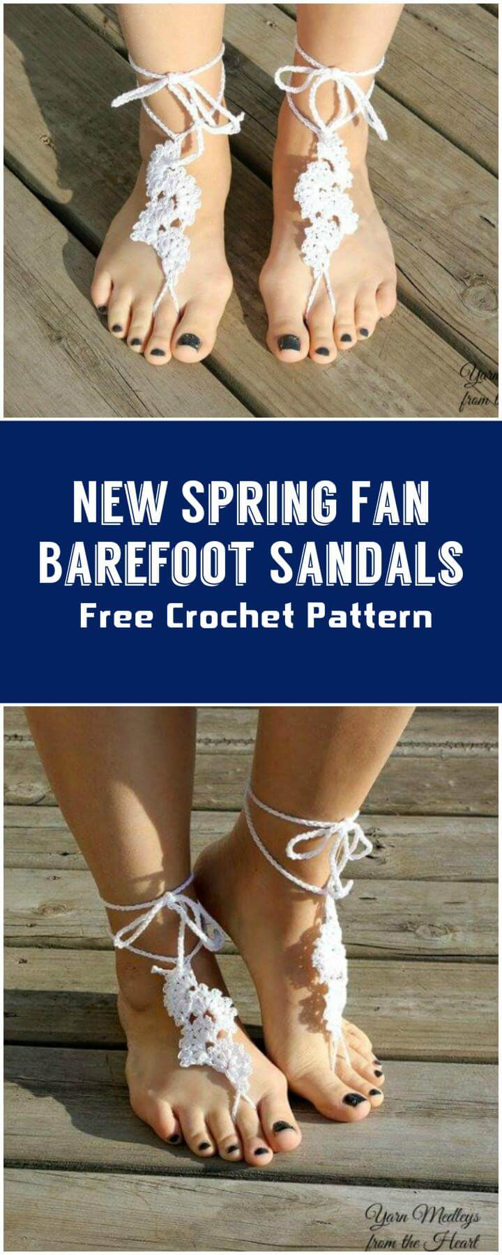 New Spring Fan Barefoot Sandals  Free Crochet Pattern