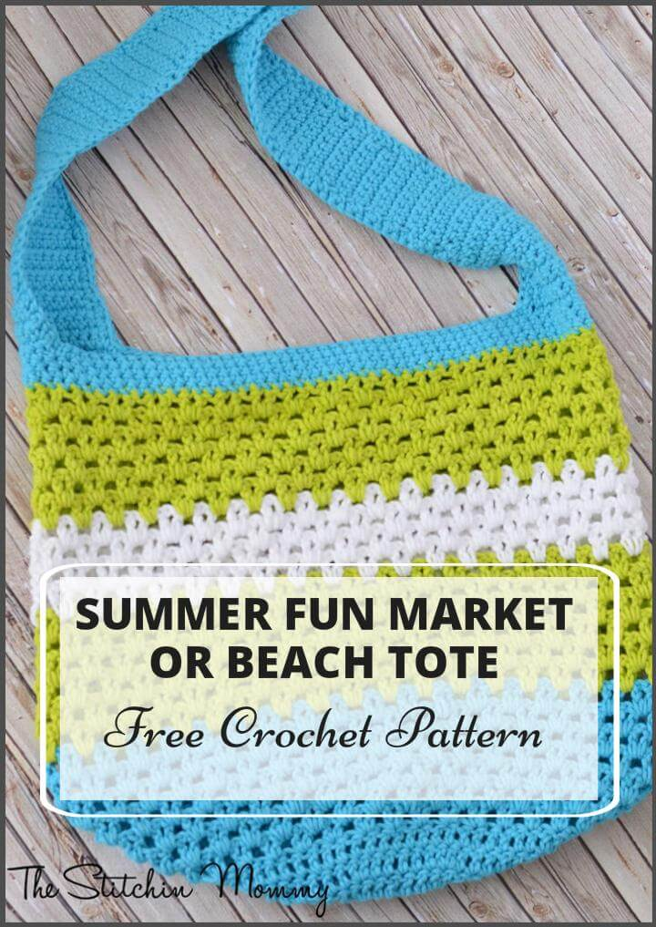 Summer Fun Market or Beach Tote Free Crochet Pattern