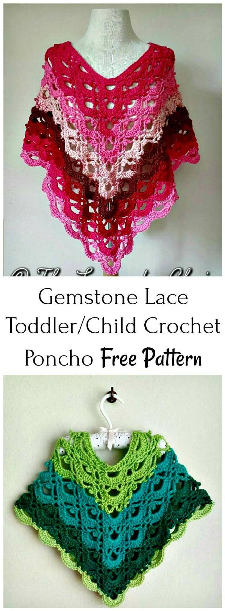 Greenstone Lace toddler or Child Crochet Poncho