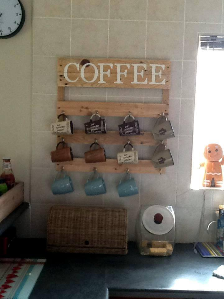 cute pallet made coffee mug rack
