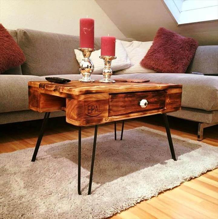 upcycled pallet coffee table with metal hairpin legs