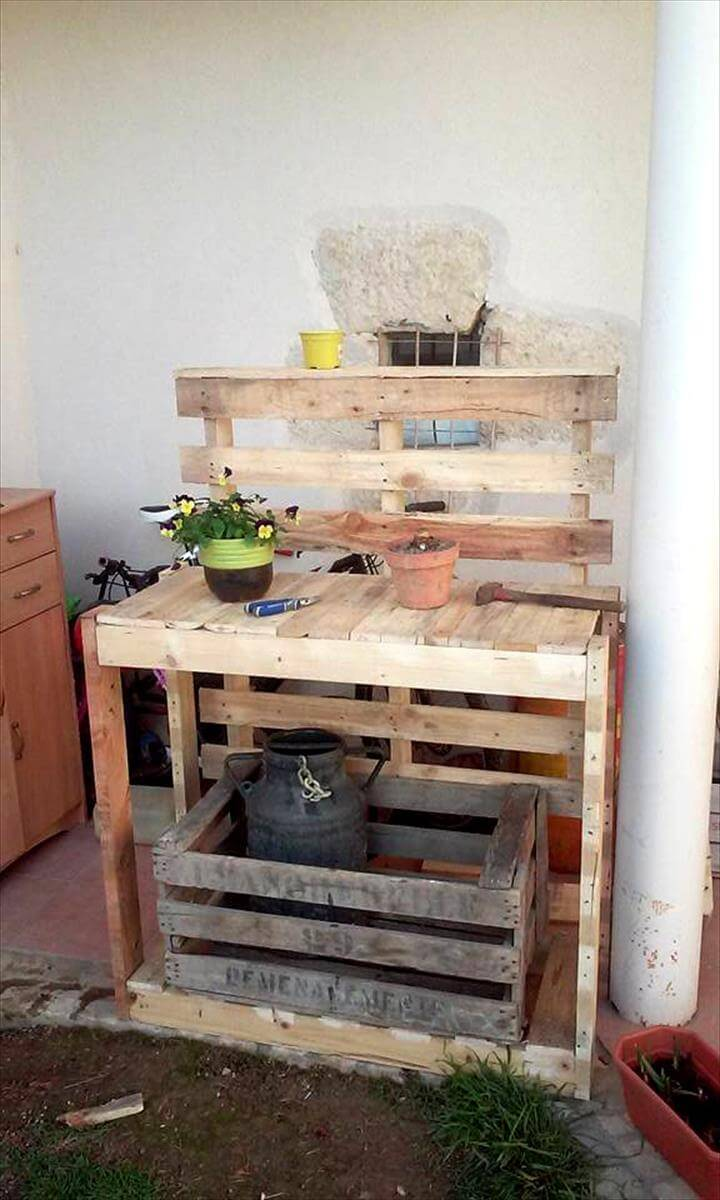 wooden pallet potting table
