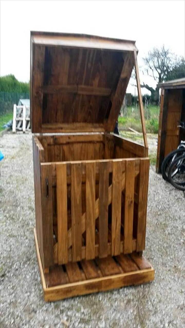 wooden pallet trash can holder