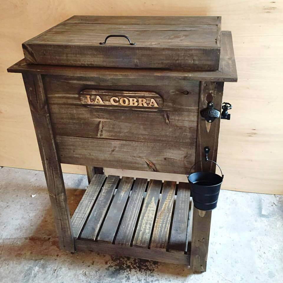 wooden pallet ice chest or outdoor cooler stand