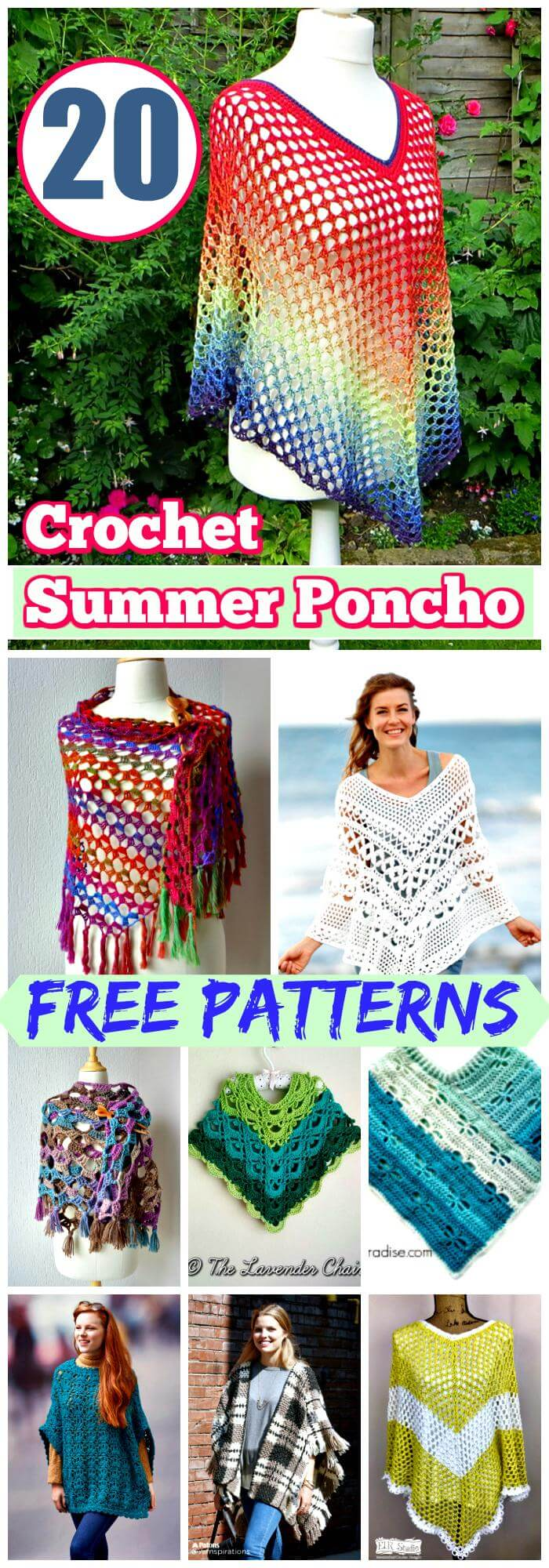 20 Free 12 Granny Square Crochet Patterns: 20 Free Crochet Summer Poncho Patterns For Women's