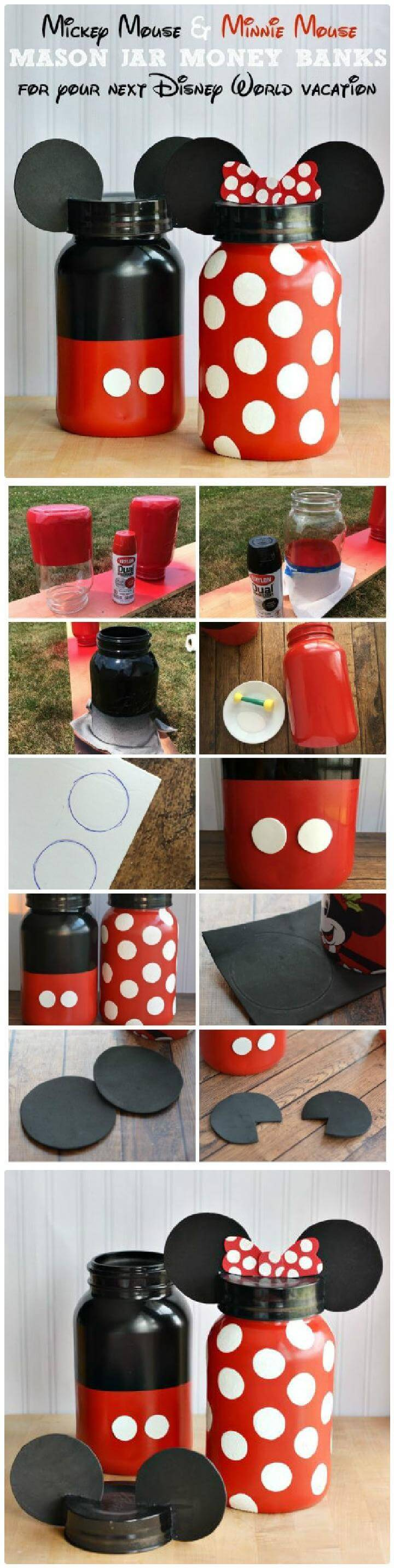 DIY Adorable Minnie and Mickey Mouse Mason Jar Money Banks