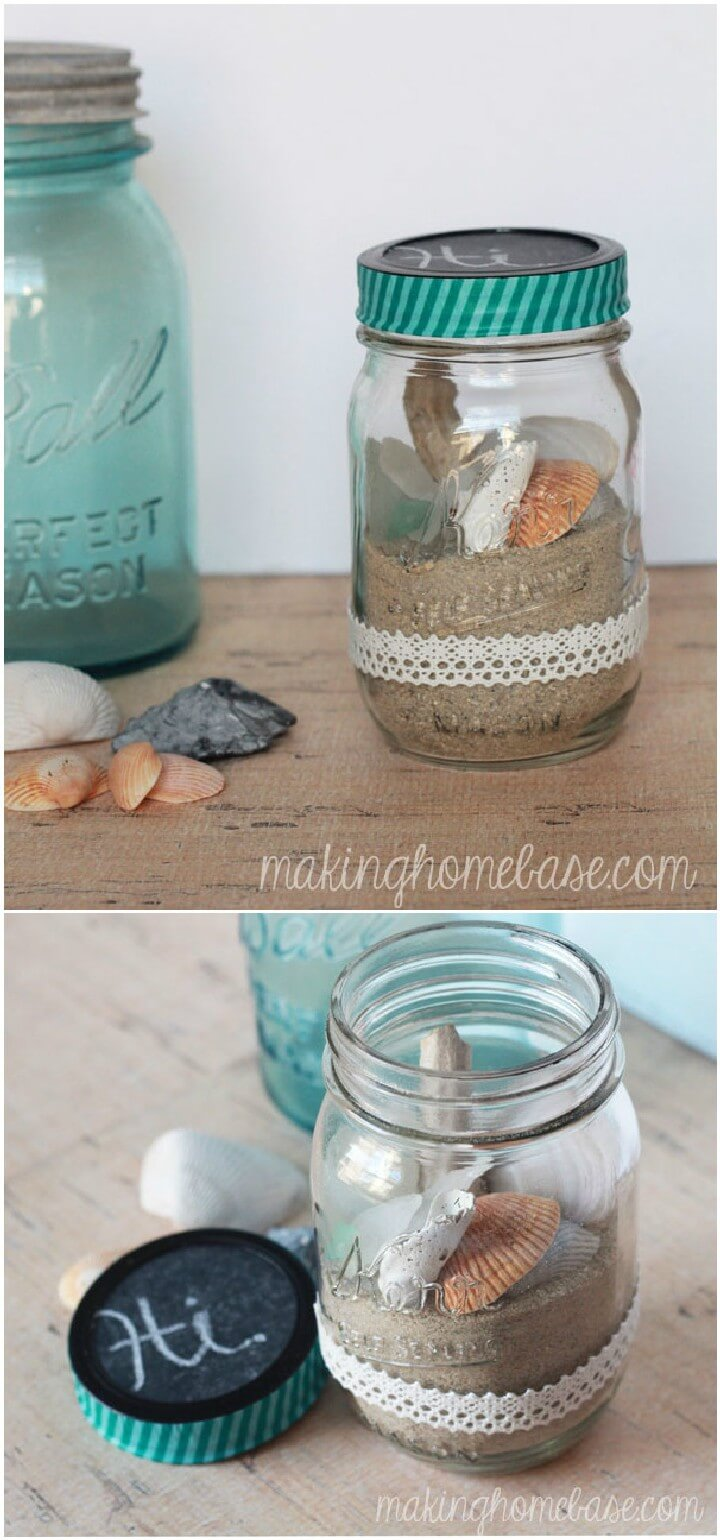 DIY Beachy Mason Jar Terrarium Gifts