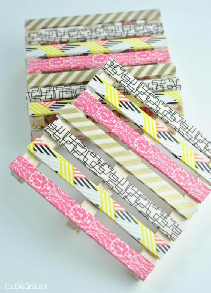 DIY Beautiful Washi Tape Mini Pallet Coasters