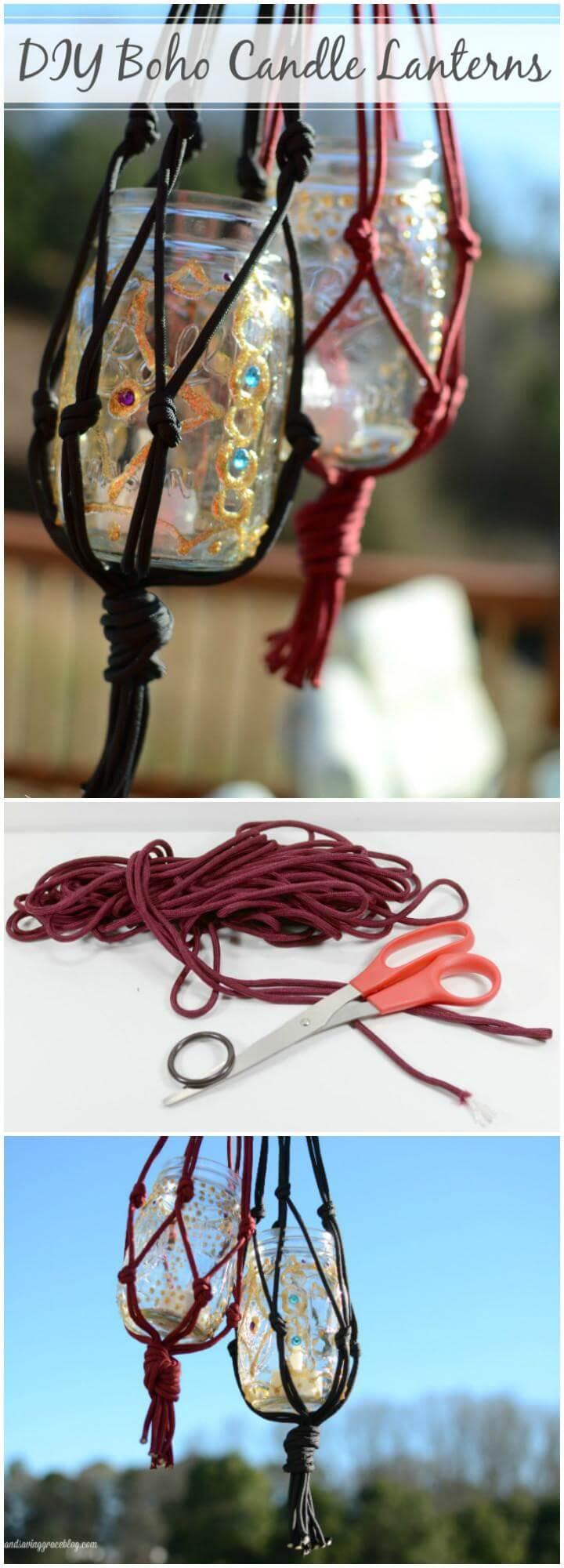 DIY Boho Macrame and Mason Jar Candle Lanterns