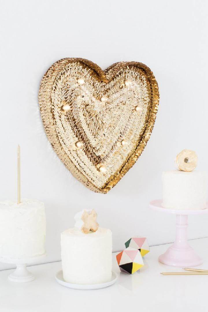 DIY Brilliant Handcrafted Sequin Marquee Heart