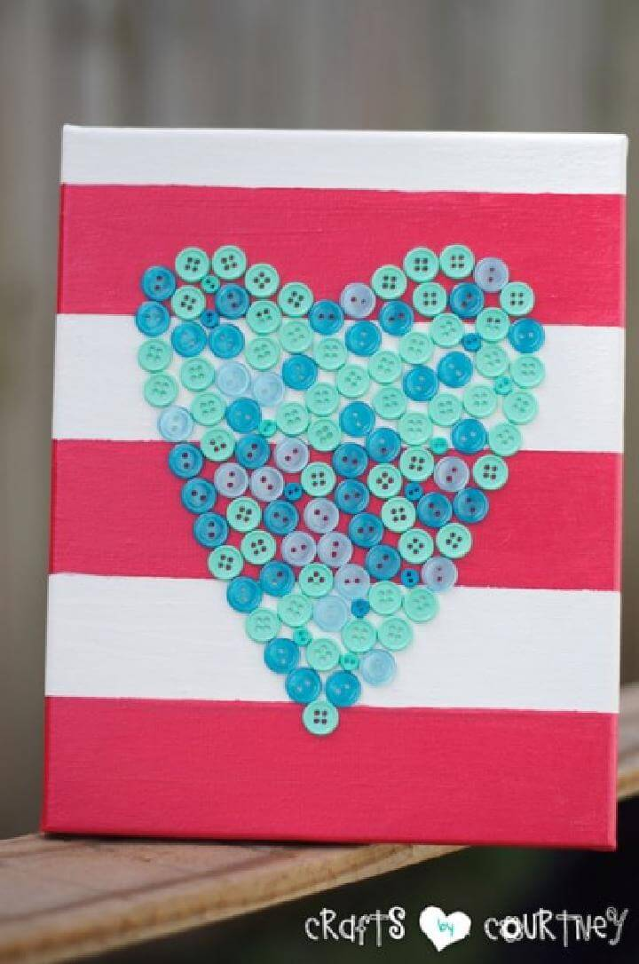 DIY Button Heart Canvas
