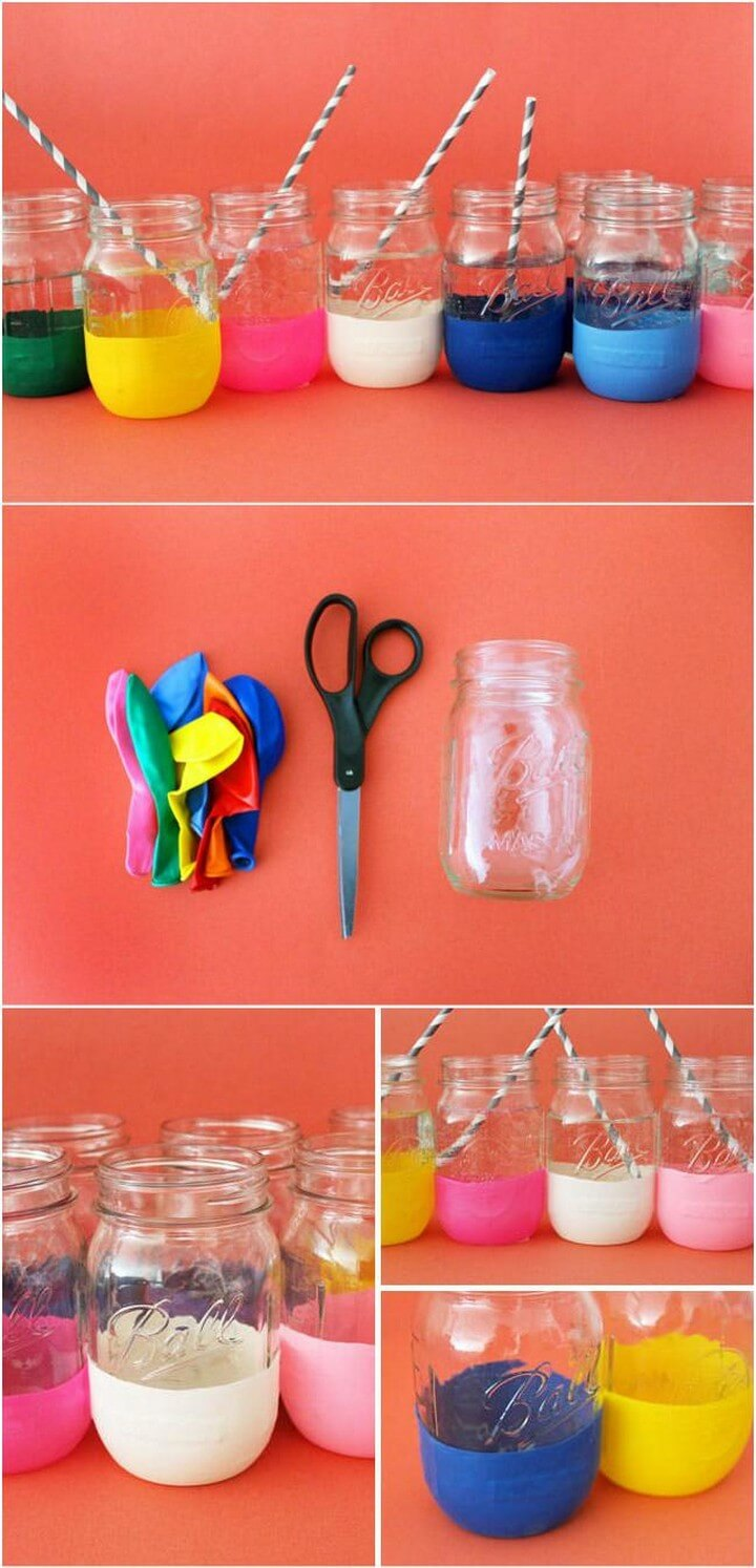 DIY Colorful Balloon Dipped Mason Jars for Kids