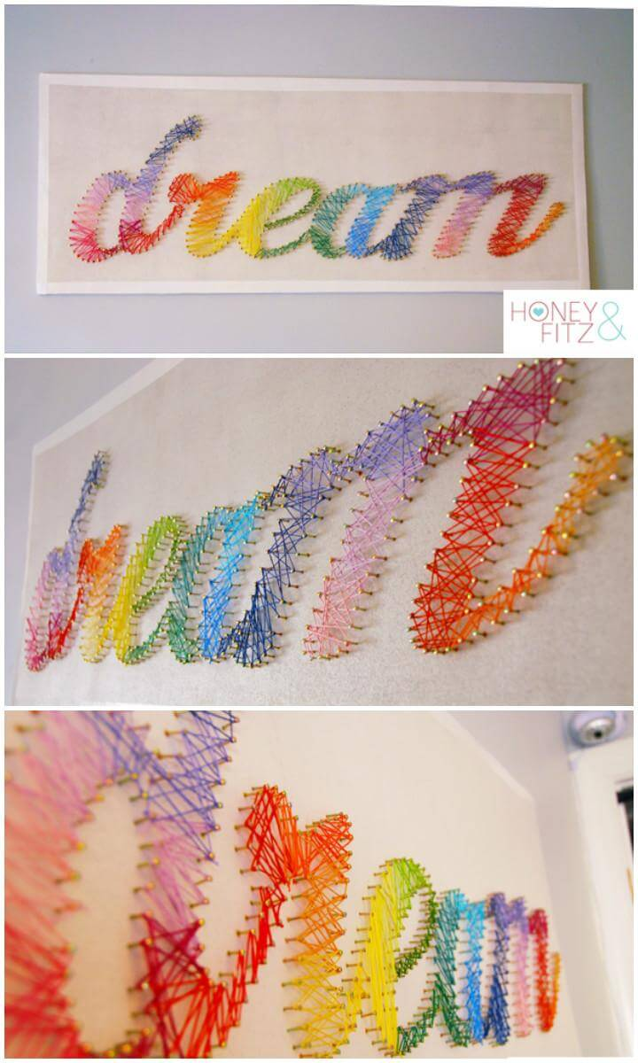 DIY Colorful String Wall Art