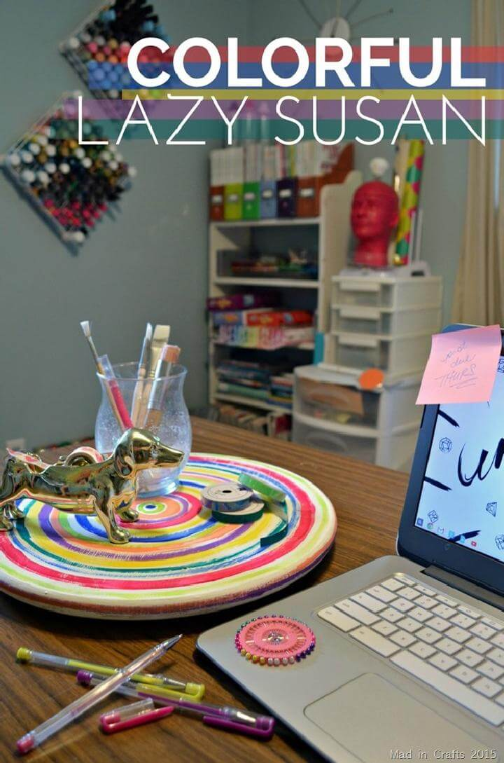 DIY Easy Colorful Painted Lazy Susan