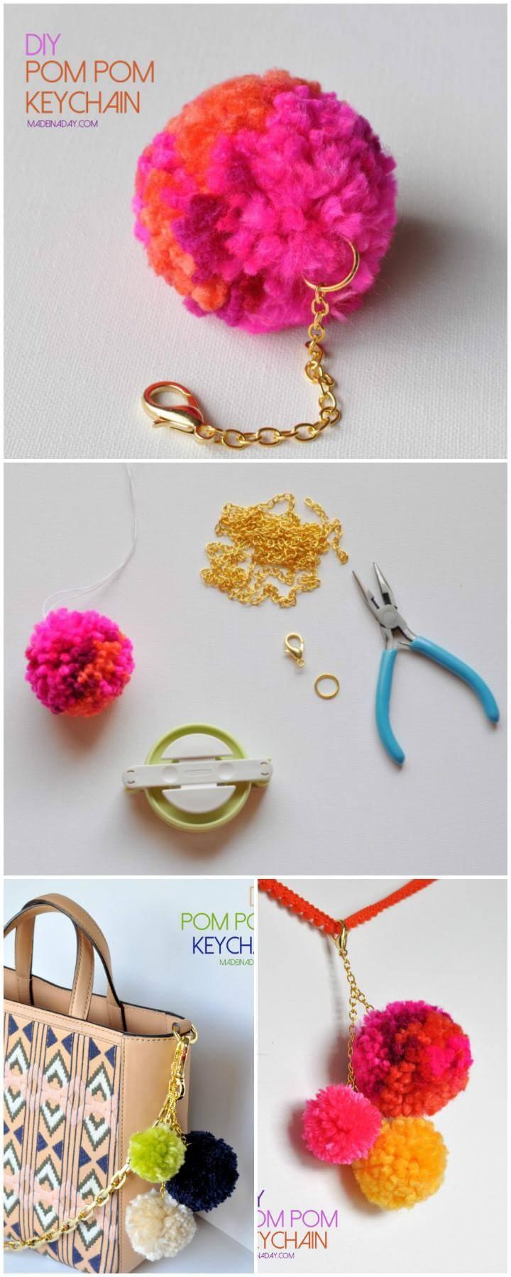 DIY Easy Handmade Pom-Pom Keychain