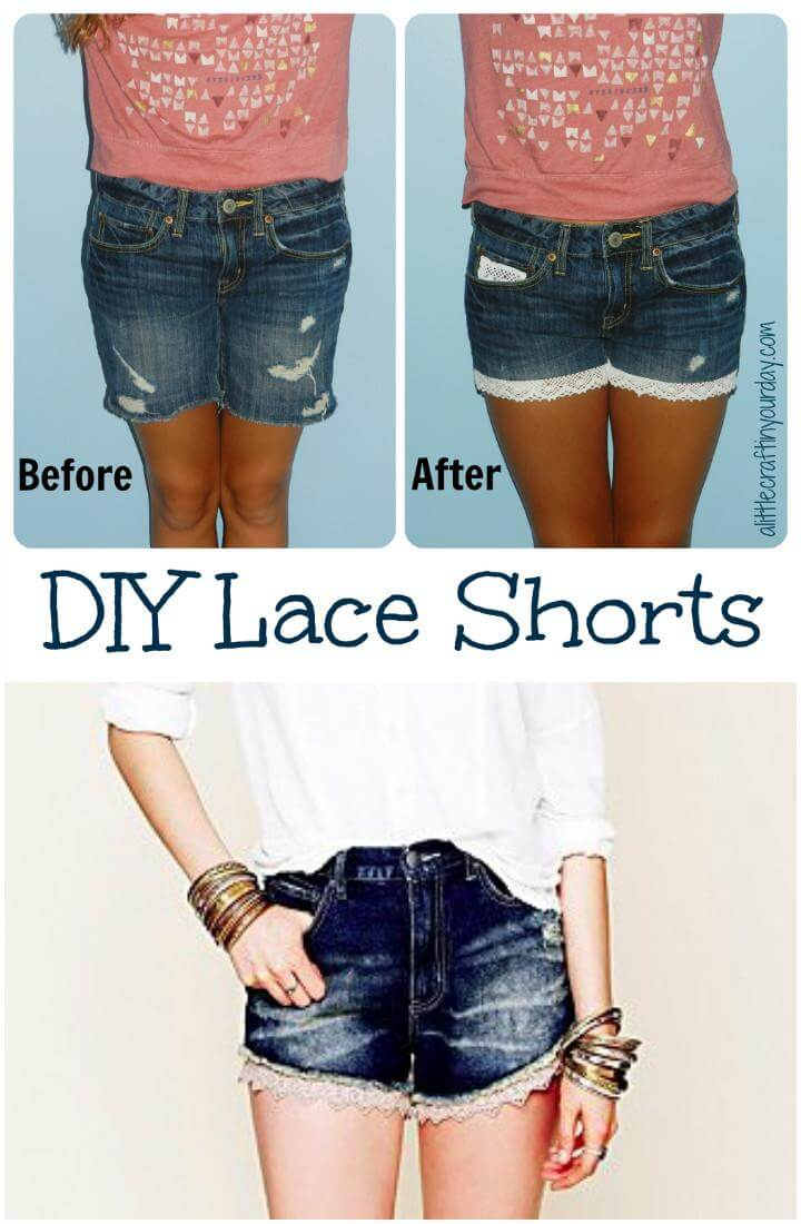 DIY Easy Lace Shorts
