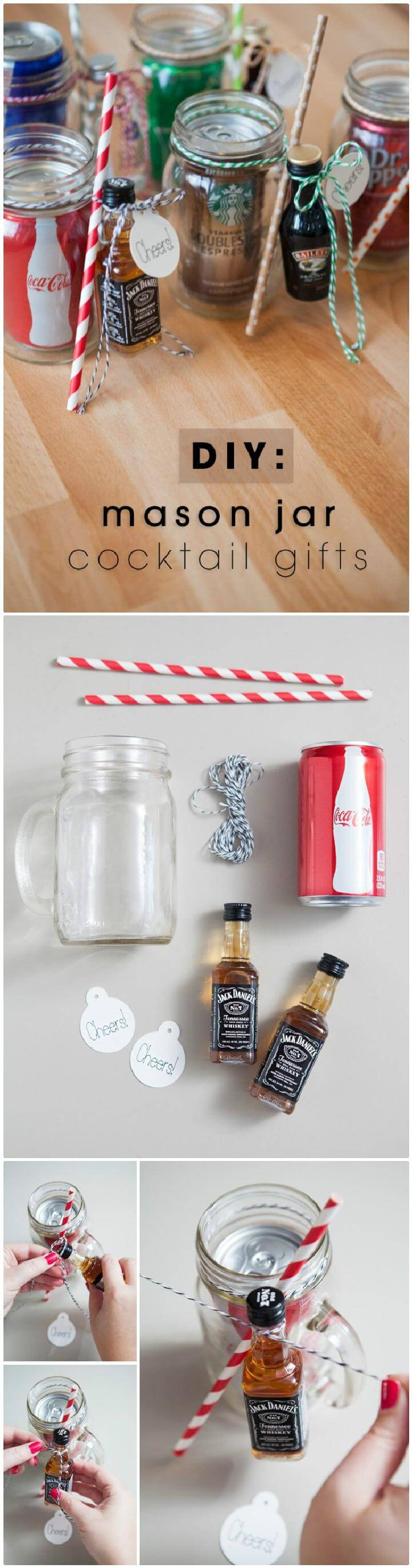 DIY Easy Mason Jar Cocktail Gifts