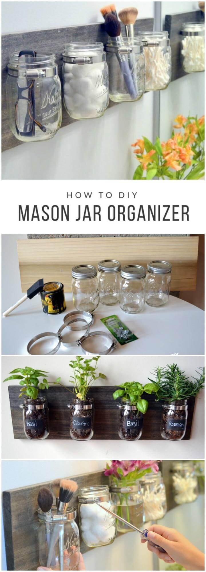 DIY Easy Mason Jar Organizer