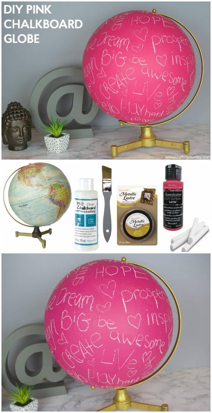 DIY Easy Pink Chalkboard Globe