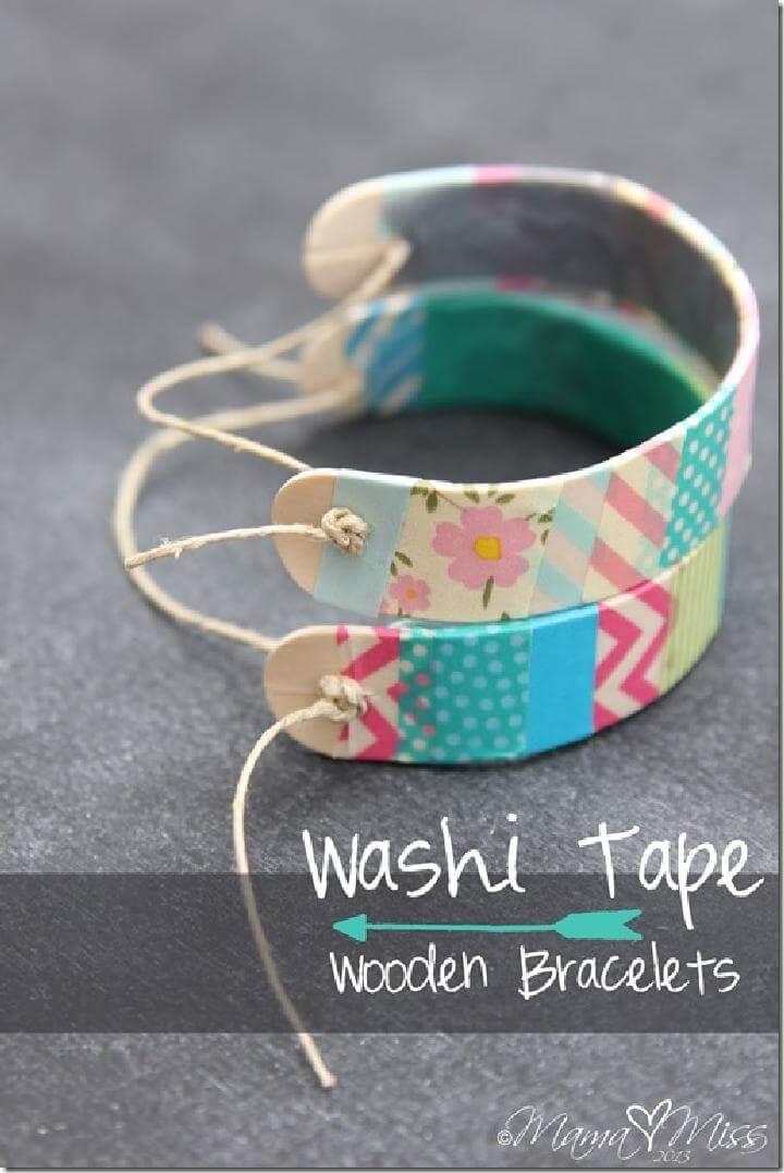DIY Easy Washi Tape Wooden Bracelets
