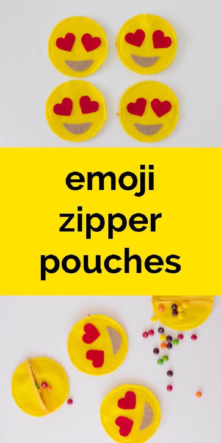 DIY Emoji Zipper Pouches