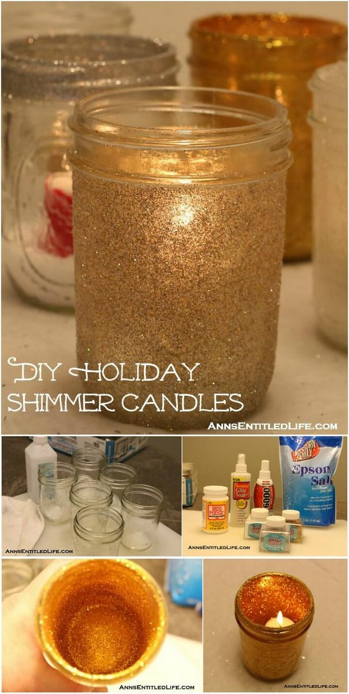 DIY Glittery Mason Jar Shimmer Candles