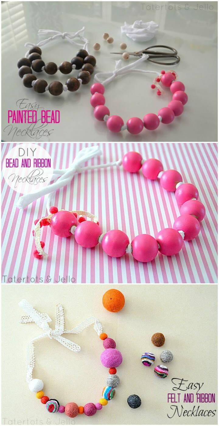 DIY Gorgeous Wood and Ribbon Necklaces