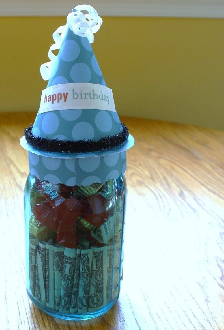 DIY Great Mason Jar Dollar Bill Birthday Gift
