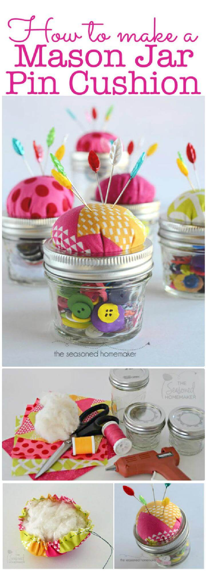 DIY Hand-Built Mason Jar Pin Cushion