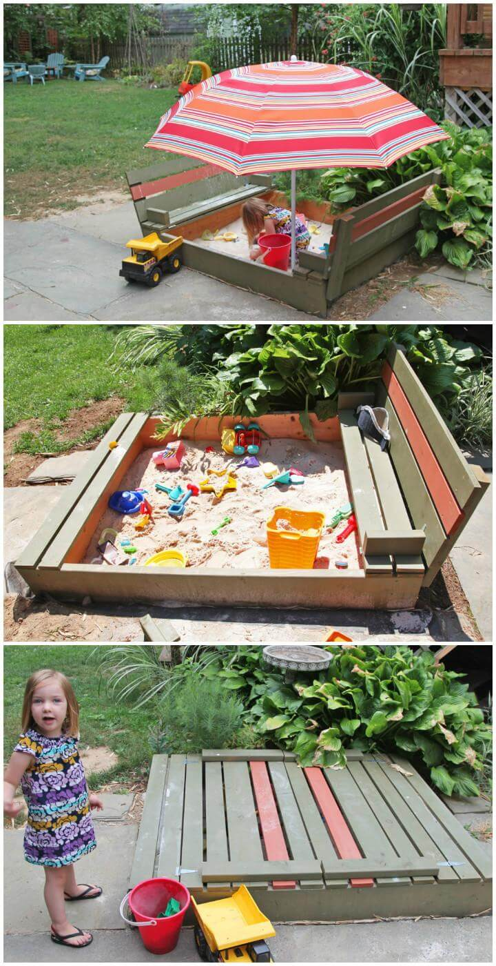 DIY Handcrafted Wooden Sanbox with Lid and Benches