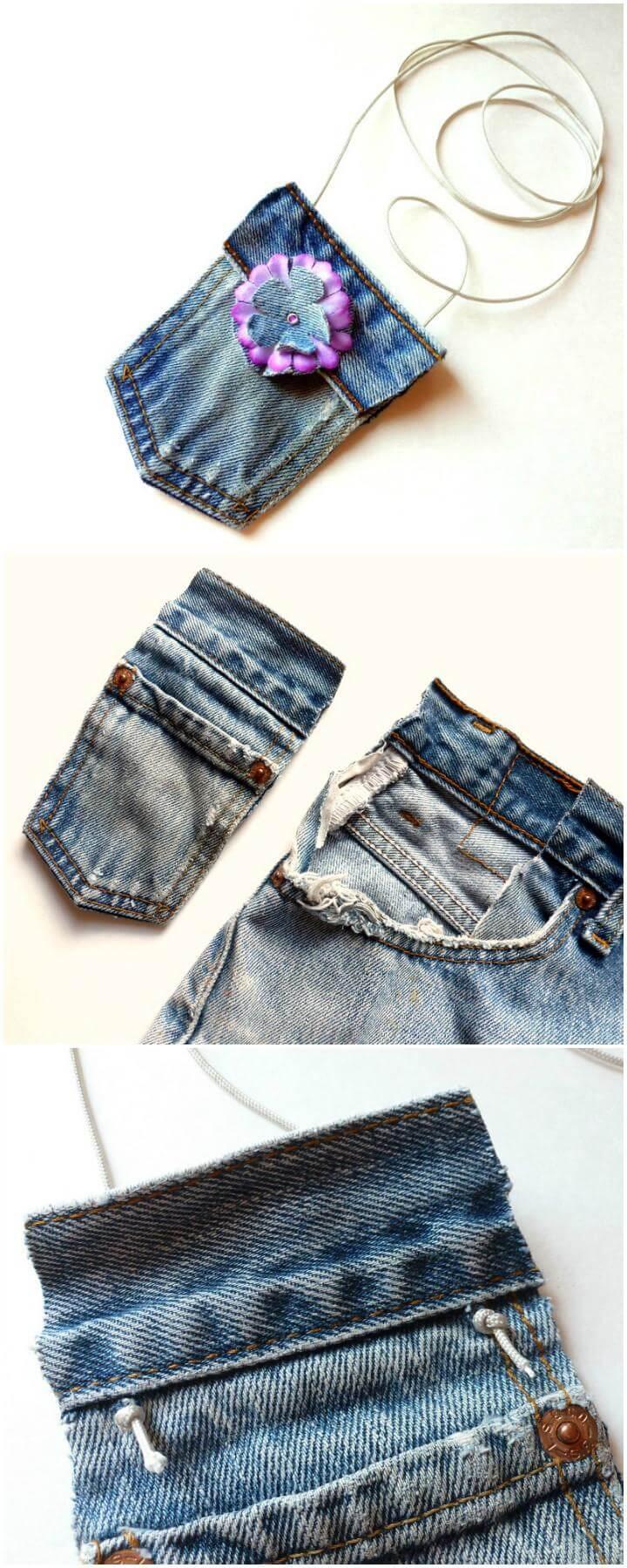 DIY Handmade No-Sew Mini Jean Purse