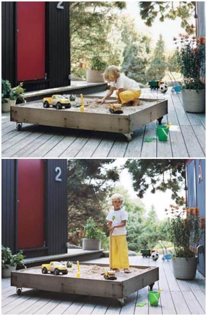 DIY Handmade Wooden Sandbox on Wheels
