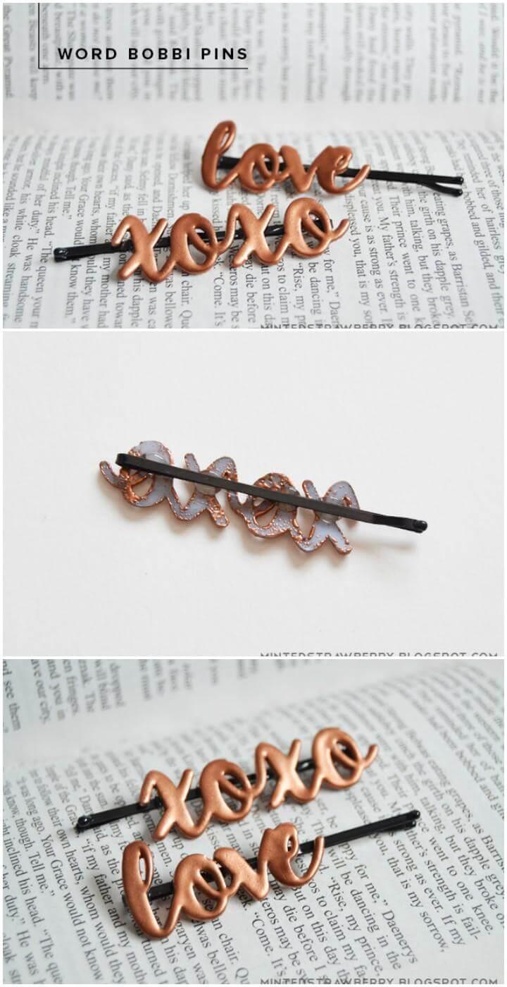 DIY Handmade Word Bobbi Pins