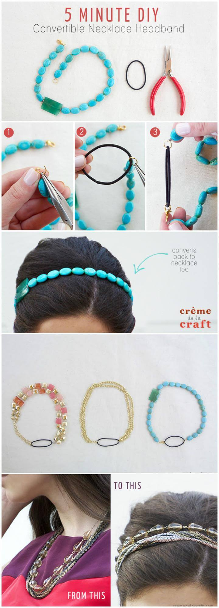 DIY Homemade 5 Minute Convertible Necklace Headband