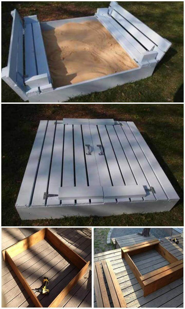 DIY Homemade Kids Wooden Sandbox with Attached Seats