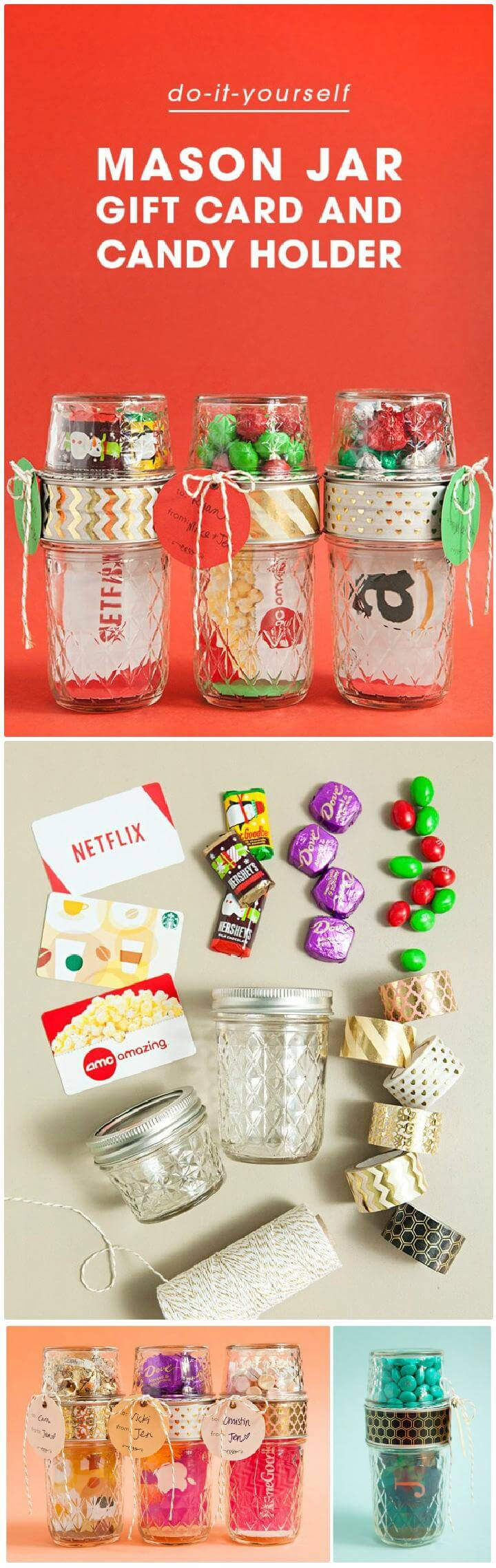 DIY Homemade Mason Jar Gift Card and Candy Holders