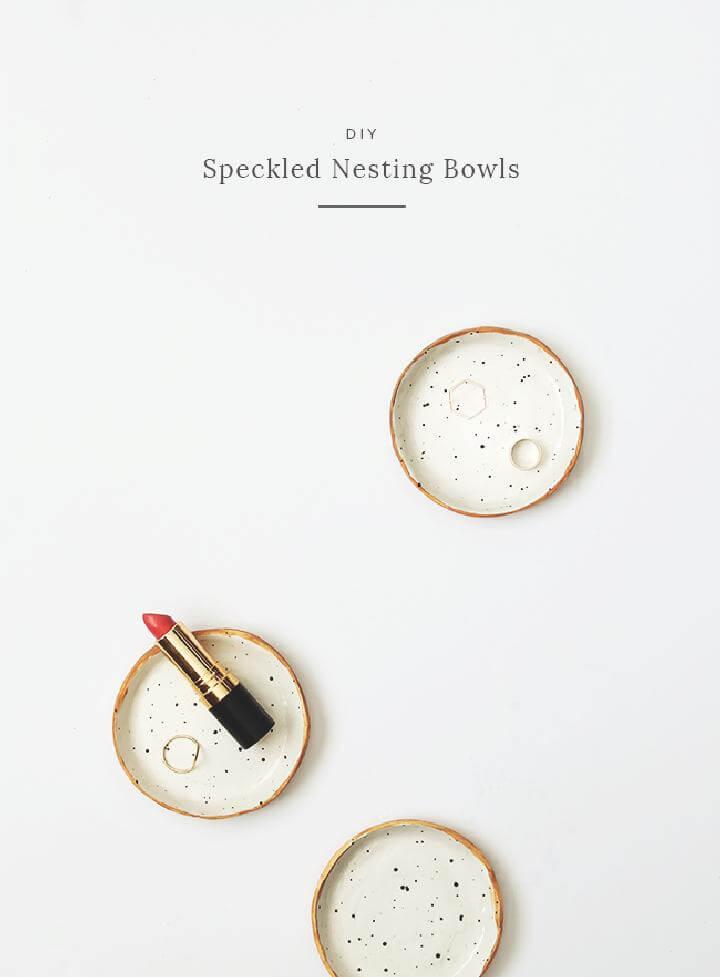 DIY Homemade Speckled Nesting Bowls