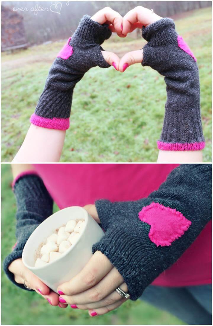 DIY Lovely Fingerless Gloves Made of Socks