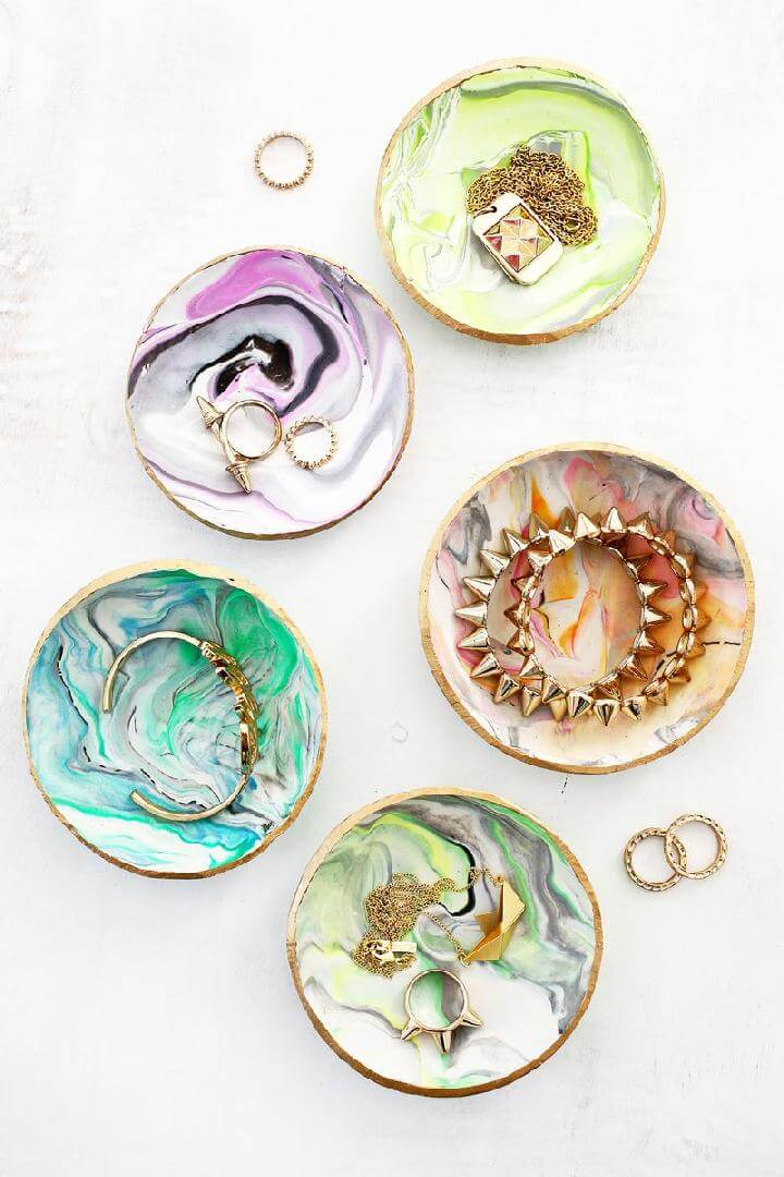 DIY Marbled Clay Ring Dishes