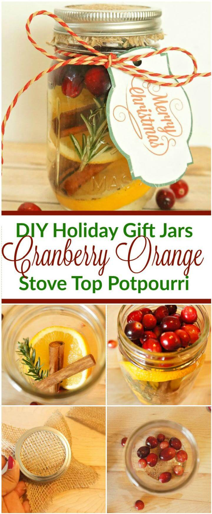DIY Mason Jar Gift - Cranberry Orange Stove Top Potpourri
