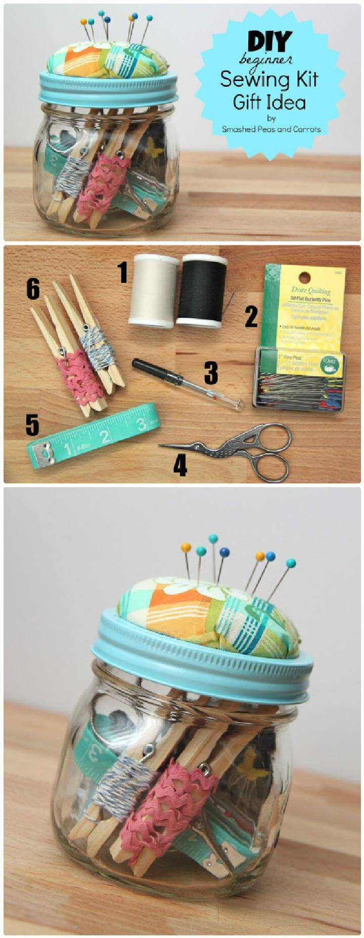 DIY Mason Jar Sewing Kit Gift for Beginners