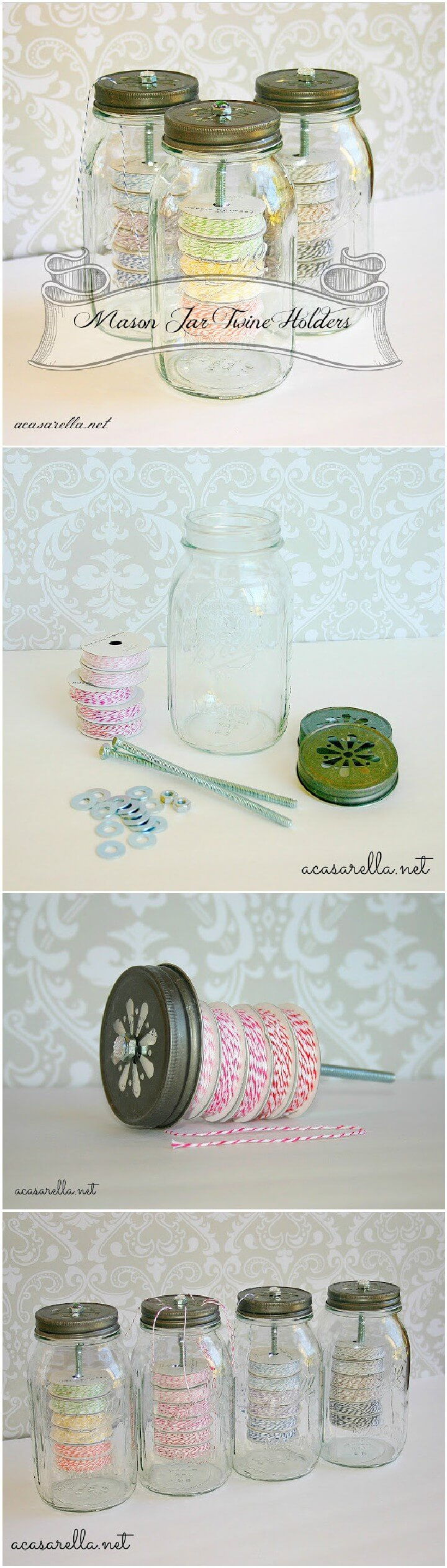 DIY Mason Jar Twine Holders and Dispensers